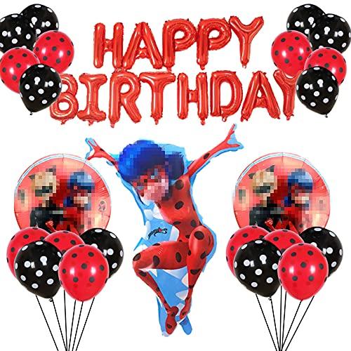 Yisscen Ladybug Decoración de Fiesta de Cumpleaños,Globos Rojo Negro,Suministros de Decoración para Niños Globo de Aluminio de Helio Banner de Cumpleaños Globo de Látex Fiesta Globos Decorativos