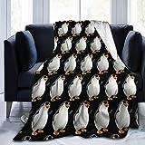 AEMAPE Manta de Felpa con Estampado de pingüino con Gafas Manta de Aire Acondicionado Manta de Felpa de Terciopelo Ultra Suave