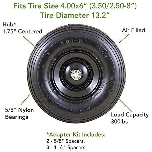 Marathon Easy Fit 4.00-6 Pneumatic Wheel Assembly for Residential Wheelbarrow, black, 13