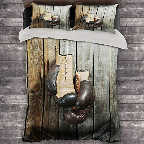 Miles Ralph Vintage Decor Medium Double Duvet Cover Vintage Boxing Gloves on Old Wooden Background Antique Equipment Decorative Photo Bedding Duvet Cover 68'x86' inch Brown