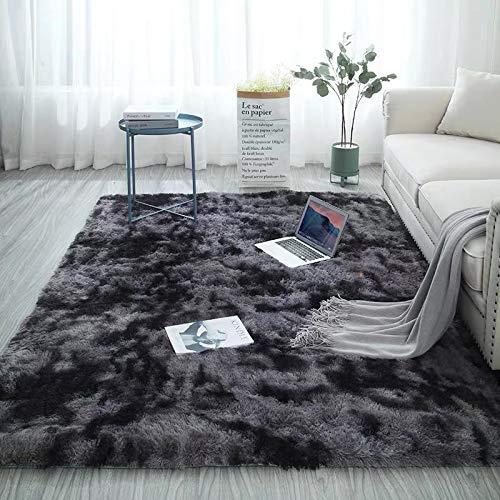 Walant Alfombra suave y antideslizante, alfombra decorativa de pelo largo para salón, comedor, habitación de los niños, dormitorio, sofá, lavable, 120 x 160 cm (gris oscuro)