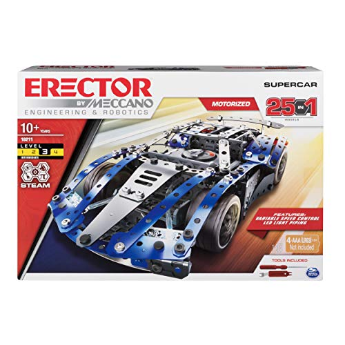 Erector by Meccano Supercar 25-in-1 Model Vehicle Building Kit, STEM Education Toy for Ages 10 & Up