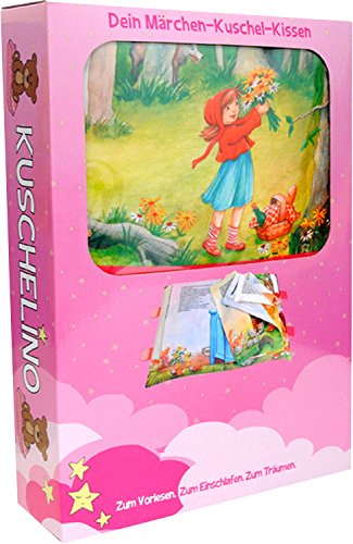 Unbekannt Kuschelino Märchen-Buch-Kissen für Jungs und Mädchen, Farbe:pink