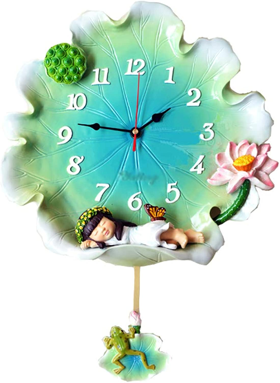YONGMEI Wall Clock - Creative Lotus Leaf Wall Clock Bedroom Wall Charts Mute Living Room Clock Table Decoration Personality Art Wall Clock (color   Green, Size   48  35cm)