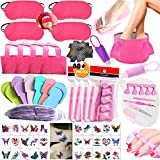 NimJoy Girls Spa Party Supplies Favors for Kids Spa Experience, 80+PCS Multiple Spa Kit w/Spa Masks Slippers Bottle Fold Bath Basin Bags Mixed Nail Decals Nail File Toe Separator & More Mani Pedi Set