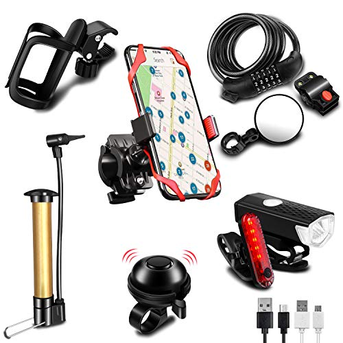 KITHELP Bike Accessories Set for Adult Bike Phone Holder for Men Bike Water Bottle Holder Bike Bell Bike Mirror Bicycle Combination Lock Bicycle USB Charging Headlights Bike Pump for Outdoor