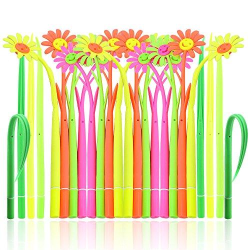 SunAngel Cute Cartoon Silicone Smile Sun Flower Pens + Green Grass-blade Ballpoint Silicon Grass Pen, 0.38mm Black Ink, Pack of 24, Random Color
