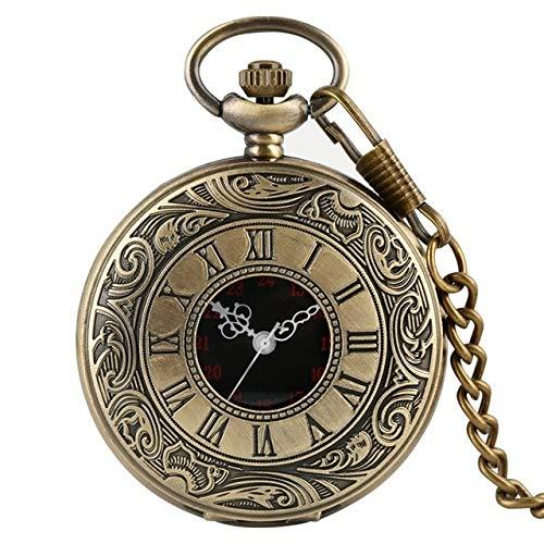 Yqs Pocket Horloge Zwart Roman Numerals Quartz Pocket Horloge Mannen Vrouwen Zwart Holle Case Steampunk Vintage Hanger Ketting Beste Geschenken voor Mannen Vrouwen gift