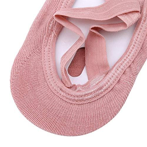 ZHDXW Calcetines de yoga antideslizantes para mujer, con puntera completa, de algodón, de goma, color rojo
