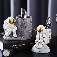 宇宙飛行士の彫像の家の装飾の中で樹脂彫刻宇宙飛行士ホームオフィスデスクトップペンホルダー(2パック)