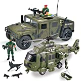 JOYIN 2 Pack Friction Powered Realistic Military Vehicle Car Set Including Military Truck Covered Utility Vehicle, Helicopter, Army Men Action Figures and Accessories, Lights and Sounds Sirens