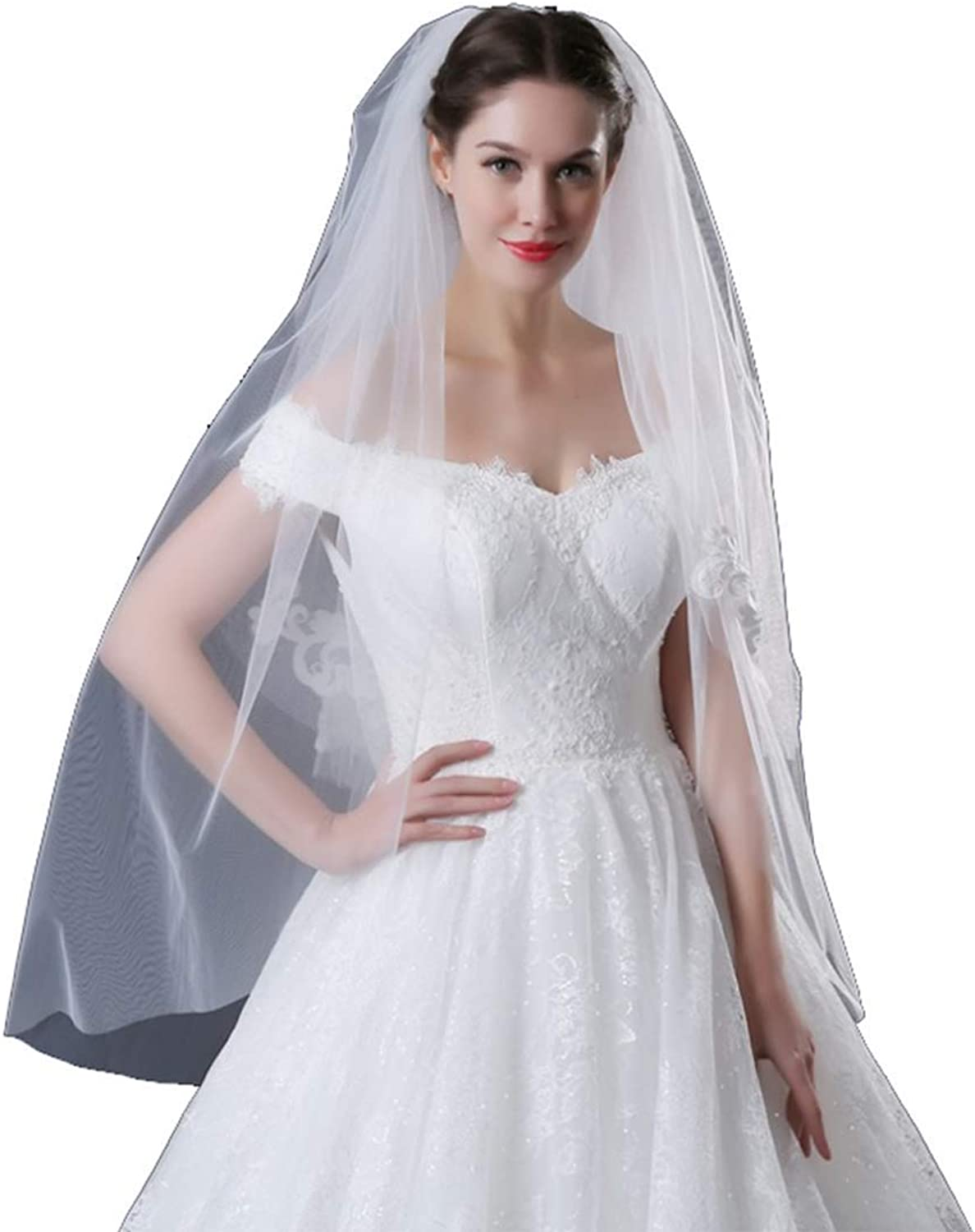 Campsis Women's Handmade Lace Bride Wedding Veil 2 Layers bridal Veil White Waist Bridal Hair Accessories Tulle Veil