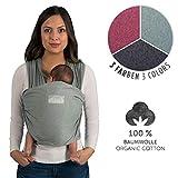 Fascia Porta Bebè Verde Con Manuale | Cotone Organico Leggero 100% | Per...