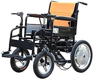 Yuzhonghua Silla de Ruedas eléctrica de Ancianos, Silla de Ruedas eléctrica Ancianos Doble asa, enfermería Plegable de Cuatro Ruedas Scooters eléctricos, Capacidad de Carga 100Kg @, baterías de plom