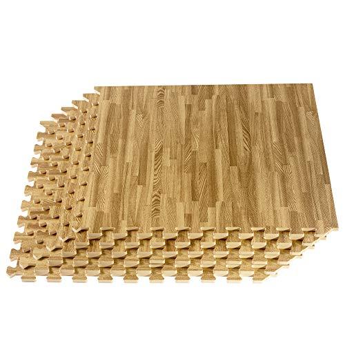 We Sell Mats Classic Oak, 6 Pack 24 Sqft Wood Grain Interlocking Foam Anti Fatigue Flooring 2'X2' Tiles, Oak (FFH24-10M)