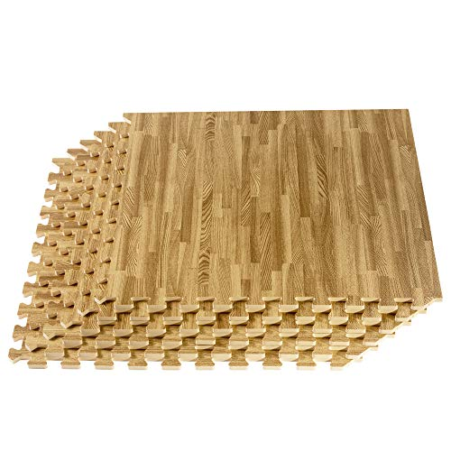 We Sell Mats Forest Floor Farmhouse Collection 3/8 Inch Thick Printed Wood Grain Mats, 24 in x 24 in, Classic Oak, 72 Square Feet (18 Tiles)