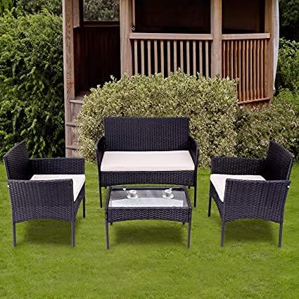 Garten Lounge Set Polyrattan Sitzgruppe für 4 Personen Balkonmöbel Set Gartenmöbel-Set, 4-teilig, 2 Sessel, Sofa & Tisch, inkl. Sitzkissen...