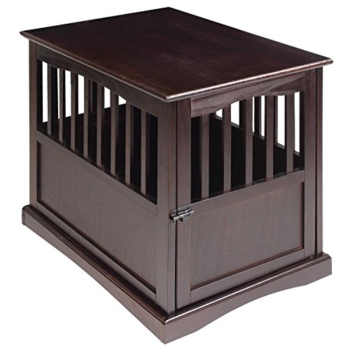 COZIWOW Home Wooden Dog Crate End Table, Decorative Dog Kennel Indoor Modern Crates Bed Side Furniture for Small Medium Pets, Brown