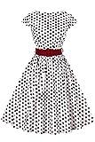 Axoe Damen 50er Jahre Audrey Hepburn Vintage Kleid Rockabilly Cocktail Partykleid Polka Dot- Gr. XL (42), Weiß