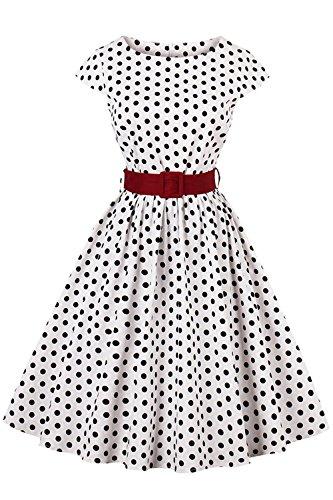 Axoe Damen 50er Jahre Audrey Hepburn Vintage Kleid Rockabilly Cocktail Partykleid Polka Dot- Gr. M (38), Weiß