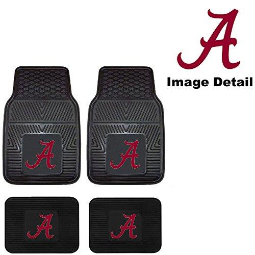 LA Auto Gear University of Alabama Crimson Tide College NCAA Collegiate Sports Team Logo Front & Rear Car Truck SUV Vinyl Car Floor Mats - 4PC