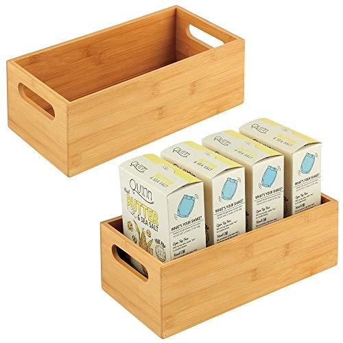 mDesign Aufbewahrungsbox für die Küche – praktische Holzbox mit integrierten Griffen – offene Ablage aus Bambus zur Aufbewahrung von Küchenutensilien – 2er-Set – naturfarben