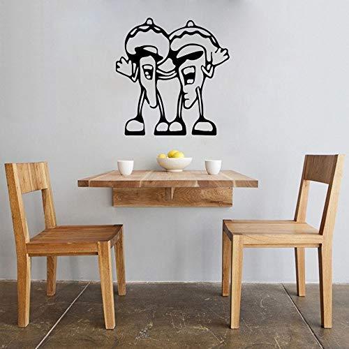 yaonuli Stickers muraux Amusants Chantant Carotte Poivre Cuisine Restaurant Vinyle Autocollant créatif Amovible mural85X88 cm