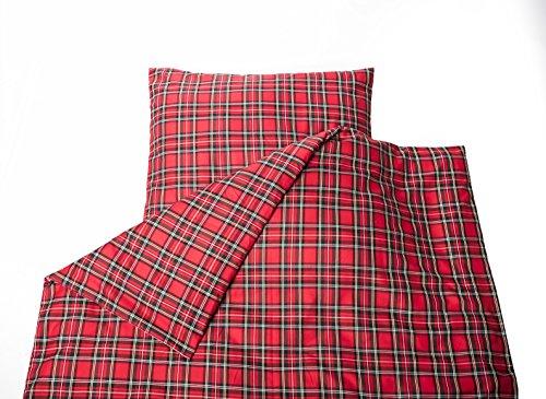 Textiel Depot24 Schotse ruiten rood geruit - beddengoed 135x200 met ritssluiting