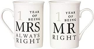 Ivory 1st Anniversary Mr Right & Mrs Always Right Mug Gift Set by Happy Homewares