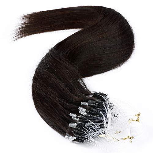 Microring Extensions Echthaar 1g 50 Strähnen Loop Extensions Echthaar Glatt 50g 100% Remy Echthaar Haarverlängerung 60cm #2 Dunkelbraun