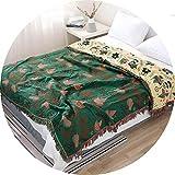 FSJKZX Manta De Gasa De Algodón Primavera Y Otoño Balcón Sofá Silla Cuerpo De Ocio Cubierto con Manta Y Manta Doble Cara De Cuatro Capas (Color : Green, Size : 150 * 200cm)