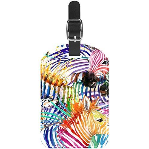 Etiquetas de Equipaje de Piel de Cebra de Colores para Maleta de Viaje, 1 Paquete