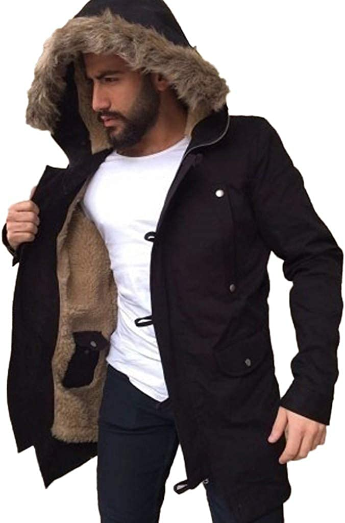 Mens Hooded Coat, Men's Fashion Hooded Warm Coat Winter Parka Jacket Casual Padded Cotton Thick Sports Jacket Outwear
