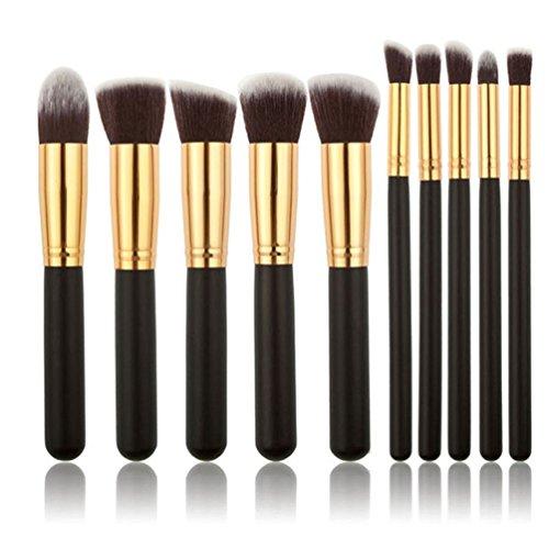 10 pièces Maquillage Professionnel Pinceau Makeup Pinceau Maquillage Brush Set Noir