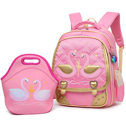 Mloovnemo Cute Swan Ballet Dancing Girl Diamond Sequins Waterproof Princess School Backpack Set Girls Book Bag (Large, Pink Set)