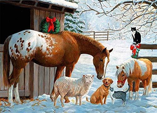 HCDZF Kit de pintura por número animal caballo nieve escena Diy pintura al óleo Dibujo lienzo con pinceles decoración de Navidad regalos 40,6 x 50,8 cm