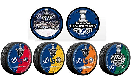 2020 Tampa Bay Lightning NHL Stanley Cup Champions Inglasco (6) Six Souvenir Puck Set