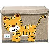 TruReey Aufbewahrungstruhe für Kinder, groß, mit Deckel, faltbar, zusammenklappbar, stabil tiger