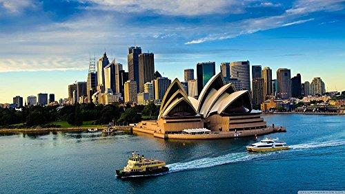JH Lacrocon Cuadro sobre Lienzo Enrollado – Sydney Teatro De Ópera Puerto Barco Río Paisajes Urbanos Fotografía Pared Impresións – 120X70 cm