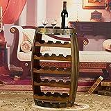 Bellamente Wine Rack Hogar Bar Barril Wine Rack 23 Botellero Efecto de Roble Independiente