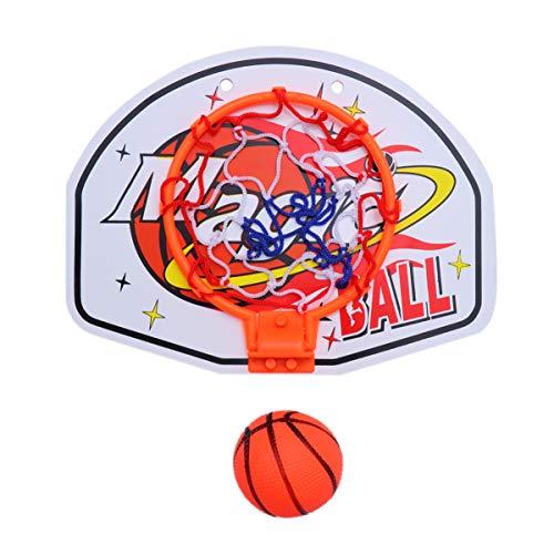 STOBOK Mini-Basketballkorb mit Ball an Der Wand Montiert Hängenden Basketballkorb mit Netto-Rückwand-Ballpumpe für Kinder Indoor-Spiel Geschenk (Muster 1)