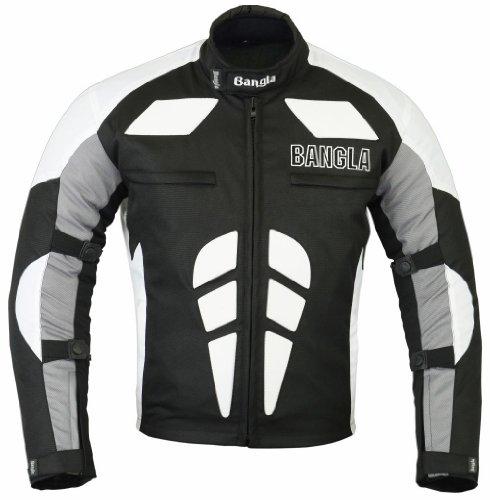 Ledershop-online Bangla Herren Motorradjacke Sportjacke Textil B-31 schwarz Weiss S