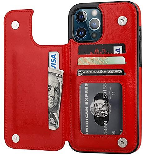Compatible con La Cubierta Protectora De La Billetera del iPhone 12 Pro MAX, La Cubierta De La Tarjeta del Soporte De Cuero PU, 6,7 Pulgadas (Negro), Red
