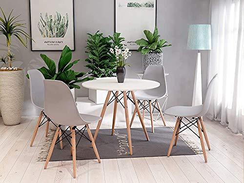 4, redonda de madera ergonómico conjunto mesa de comedor con cuatro sillas para comedor, sala de estar,Grey