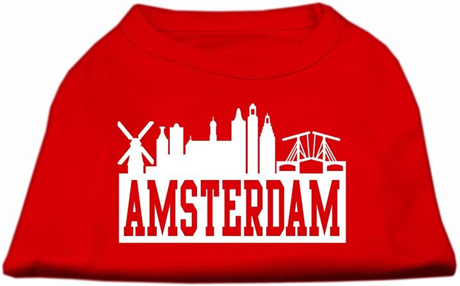 Mirage Pet Products 10Inch Amsterdam Skyline Screen Print Shirt for Pets, Small, Red
