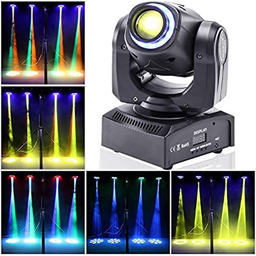 UKing LED Moving Head,Disco Bühnenlicht 50W DJ Party Lichteffekt DMX512 10/12 Kanäle 8 Muster 8 Farben Gobo Strahler mit Magischer Beleuchtungskreis für Bar Club Show (Schwarz)