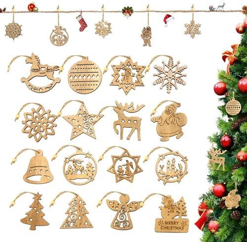 Decoration Sapin Noel en Bois, 16pcs Bois Arbre de Noël Ornements, Décorations d'arbre de Noël, Décorations De Noël en Bois, Décoration de Noël Ornement Suspendu Décoration Bricolage