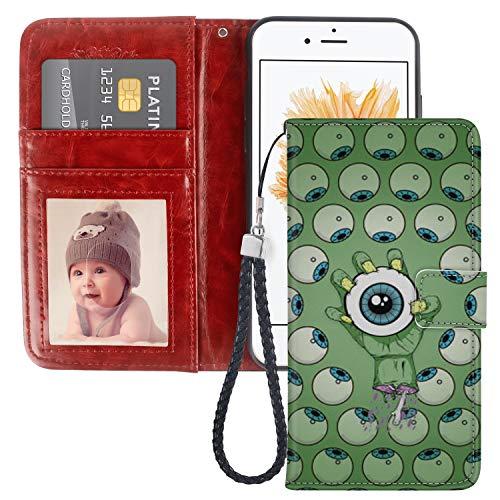 Naikuyi - Funda tipo cartera para iPhone 5, iPhone 5S, iPhone SE, diseño de Cactus Immortal Column, piel sintética, con función atril y ranuras para tarjetas, funda tipo libro y correa para la muñeca para iPhone 5/5S/SE