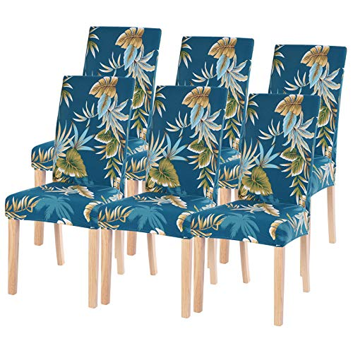 Dining Room Chair Covers Slipcovers Set of 6, SearchI Spandex Fabric Fit Stretch Removable Washable Short Parsons Kitchen Chair Covers Protector for Dining Room, Hotel, Ceremony (Blue Leaf, 6 per set)