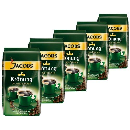 Jacobs Krönung Aroma-Bohnen, ganze Bohnen, Kaffeebohnen, 5er Pack, 5 x 500g